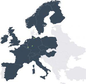 Europakarte zeigt die internationale Immobilienfondsexpertise der INTREAL